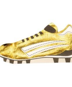Servietten in Fußballschuh-Form, metallic-gold/schwarz/weiß, 40 x 21 cm