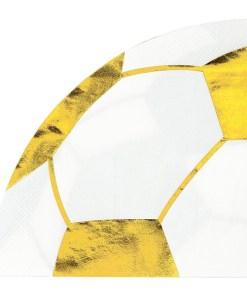 Weiße Servietten in Fussballform mit goldenem Aufdruck, 29 x 29 cm