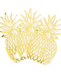 Servietten, Ananasform, weiß/met.gold, 12er Pack, 40 x 20 cm