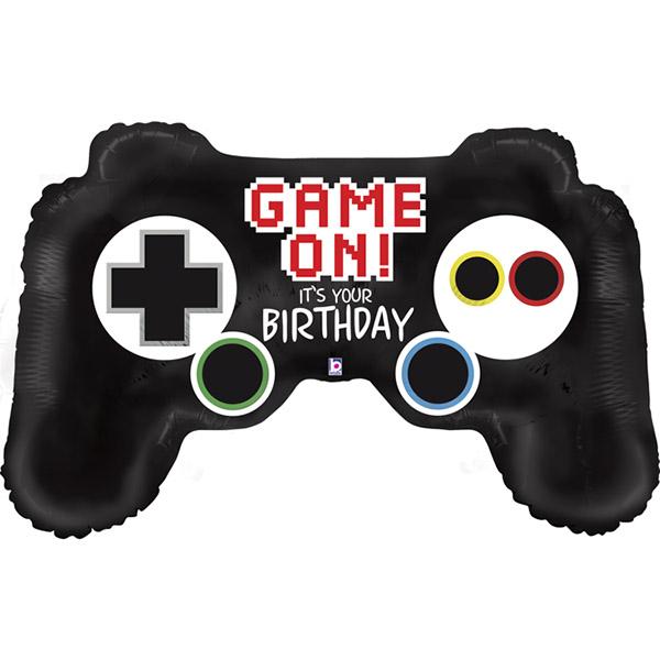 """Videogame Controller Folienballon, schwarz mit Gratulation """"Game On! It's your birthday!"""""""