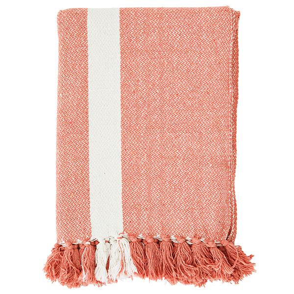 Decke grob gewebt mit Fransen, Blockstreifen gebr.weißapricot, Baumwollmischung, 125 x 175 cm