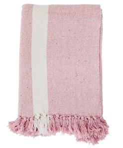 Decke grob gewebt mit Fransen, Blockstreifen gebr.weißrosa, Baumwollmischung, 125 x 175 cm