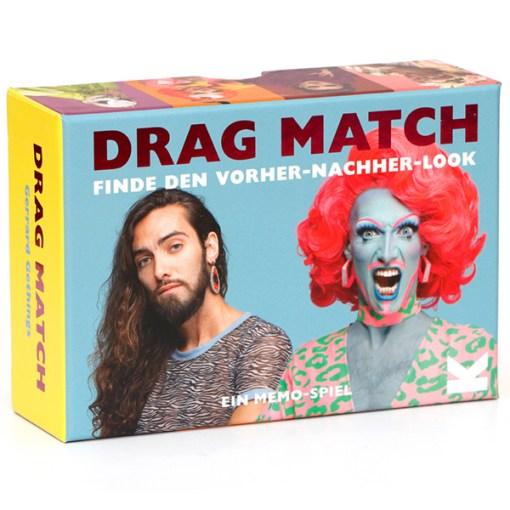 Drag Match, Finde den Vorher-Nachher-Look, Memo-Spiel, 40 Karten, 144x100x47mm, Box seitlich