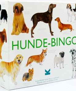 Hunde-Bingo, Box, 64 Spielsteine, 12 Bingokarten, Leinensaeckchen und Spielsack, 262x236mm, Box seitlich 1