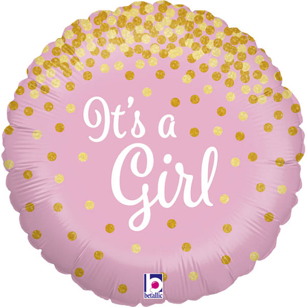 Its a Girl, Glitzernd, Folienballon, Rund, 45cm
