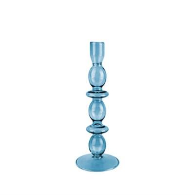 Kerzenständer groß, Glas, handgemacht, dunkelblau, H 24 cm, D 8,5 cm