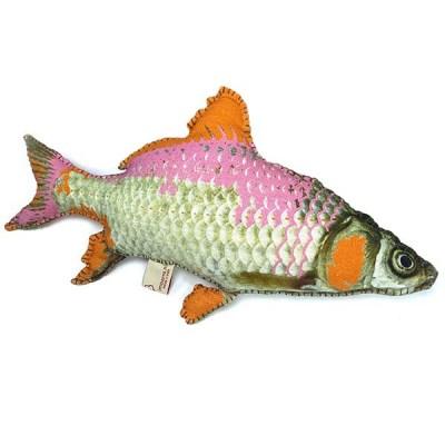 Kissen Pez Raw in Fischform, gefuellt, pink-orange, Fischdruck, 100ProzBaumwolle, 60 x 28 cm, 600x600