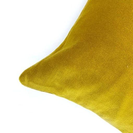 Kissen Shellia, mit Fuellung, senfgelb, Samt, 100Proz Baumwolle, 35 x 50 cm, Detail 2