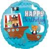 Folienballon mit Piratenschiffchen und Happy Birthday, 45cm