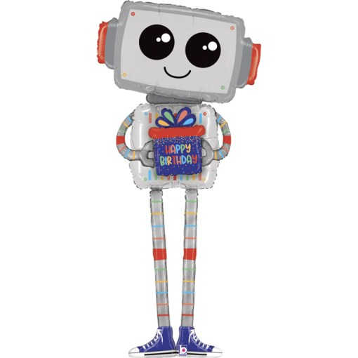 Roboter, Happy Birthday, Airwalker, Folienballon, 152cm