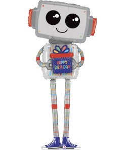 Roboter, Happy Birthday, Airwalker, Folienballon, 152cm