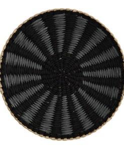SchaleTablett mit 2 großen Henkeln, MetallBast, schwarz-grau-natur gestreift, D 40 H 7,5 cm (1)