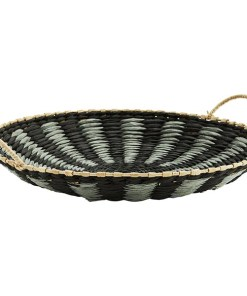 SchaleTablett mit 2 großen Henkeln, MetallBast, schwarz-grau-natur gestreift, D 40 H 7,5 cm Seitenansicht