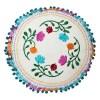 Sitzkissen BOHO, creme, Stickmuster, Blumen bunt, Pompomborte türkis, D 40 cm