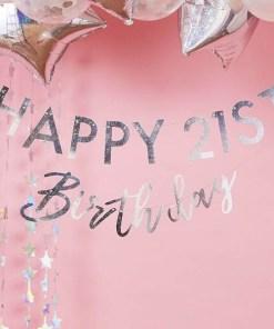 Buchstaben-Girlande HAPPY Birthday + 2x Ziffern 0-9NDRDTH, Pappe iris-silber, personalisierbar, 2 x 175 cm, Dekobild