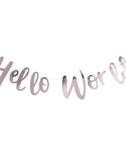 """Buchstaben-Girlande Hello World"""", Pappe rosa foliert, Faden weiß, L 200 cm"""