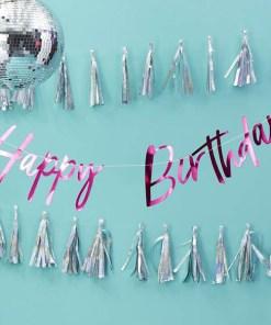 Buchstaben-Girlande,Happy Birthday, Pappe pink foliert, Faden weiß, H 20 x L 200 cm, Dekobeispiel
