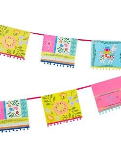 Fahnen Girlande BOHO Pappe bunt Unterkante mit Pompons L 4 m Detail