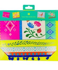 Fahnen Girlande BOHO Pappe bunt Unterkante mit Pompons L 4 m Packung