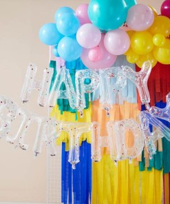 Folienballongirlande ''HAPPY BIRTHDAY'', transparent, Konfetti bunt, H 34 cm, Dekobeispiel