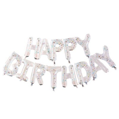 Folienballongirlande ''HAPPY BIRTHDAY'', transparent, Konfetti bunt, H 34 cm