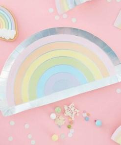 Form-Pappteller Pastel Rainbow, Pastell-RegenbogenIris-Silberdruck, 8er Pack, 28 x 15,5 cm , Dekobeispiel