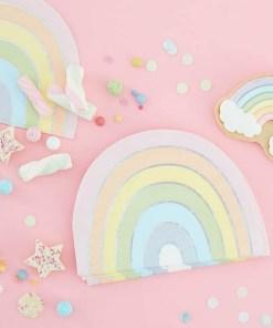 Form-Servietten Pastel Rainbow, Pastell-RegenbogenIris-Silberdruck, 16er Pack, 16,5 x 11 cm, Dekobeispiel