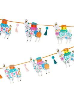 Girlande, 12 Lamas-Bommelquasten bunt-Bastkordel orange, H 15 cm L 3 m, Dekobeispiel