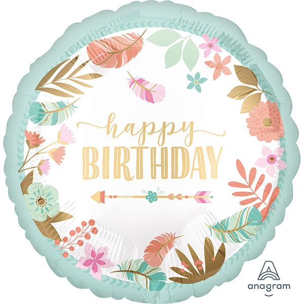 Happy Birthday, Boho, Folienballon, rund, 45cm