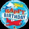 Happy Birthday, Flugzeuge, Folienballon, rund, 45cm
