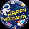 Happy Birthday, Galaxy, Bubble, Folienballon, 56cm