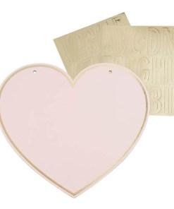 Herz-Schilder, Pappe rosa, Goldrand, Buchstaben-, Zahlen-, Zeichenaufkleberngold, 4er Pack, 22,5 x 20,5 cm