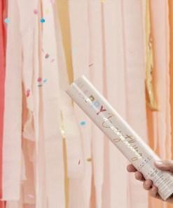Konfettishooter ''HAPPY Everything'', puderrosa, Regenbogen pastell-met.gold, Seidenpapierkonfetti bunt, D 5 H 28 cm, Beispielbild