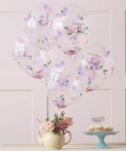 Latexballon ''HAPPY Birthday'', transparent, Blueten-Konfetti pastell-gruen, D 30 cm, Dekobeispiel
