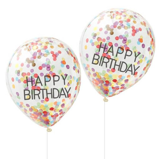 Latexballons HAPPY BIRTHDAY, transparent Golddruck Konfetti bunt, 5er Pack, 31 cm