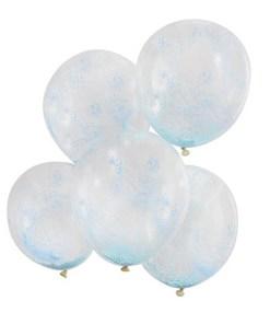 Latexballons transparent, gefuellt mit hunderten blauen Kuegelchen, D 30 cm
