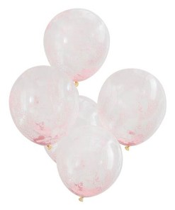 Latexballons transparent, gefuellt mit hunderten rosa Kuegelchen, D 30 cm