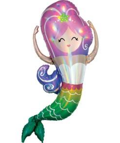 Meerjungfrau Holografisch, Folienballon, H104cm