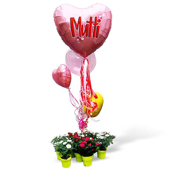 Muttiblumenballons Beispielbild mit grossem Herz