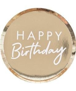 Pappteller HAPPY Birthday, schmaler Rand, gold foliert, Schrift weiß, 8er Pack, D 24 cm