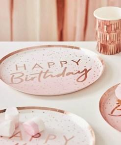 Pappteller ''HAPPY Birthday'' und Punkte, rosa-rosegold foliert, 8er Pack, D 24 cm, Dekobeispiel