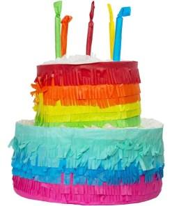 Pinata Regenbogen Geburtstagskuchen, bunt gestreift, Kerzen, 25 x 23 cm