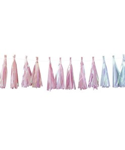 Quasten-Girlande, Iris-Folie Seidenpapier, je 5 pastell-blau-apricot-rosa, Faden weiß, H 20 cm 2 m