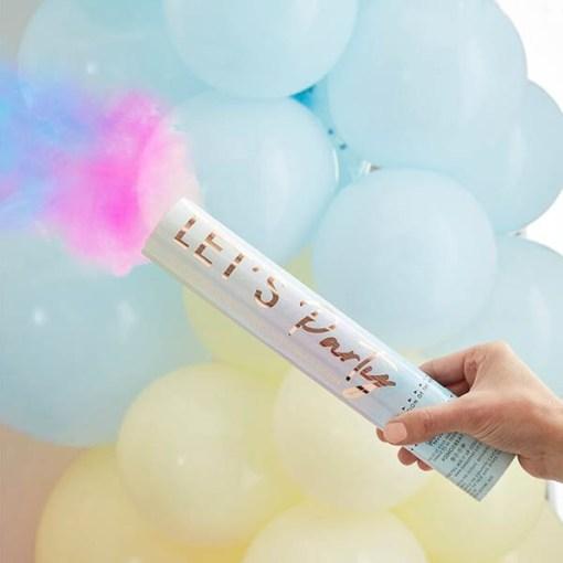 Rauchshooter ''LET'S Party'', Pastellfarbverlauf-Schrift rosegold, Farbpulver bunt, D 5 H 28 cm, Aktionsbeispiel