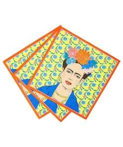 Servietten BOHO, Frida vor Blumentapete-Rand orange, 33 x 33 cm, 20er Pack, aufgefaechert
