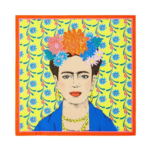 Servietten BOHO, Frida vor Blumentapete-Rand orange, 33 x 33 cm, 20er Pack