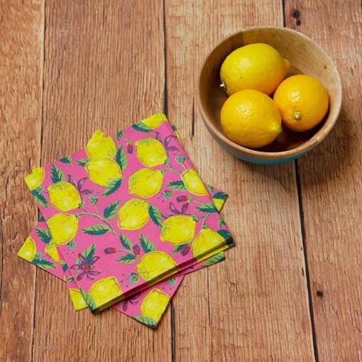 Servietten BOHO, pink, Zitronen, Blaetter und Blueten, 33 x 33 cm, 20er Pack, Dekobeispiel