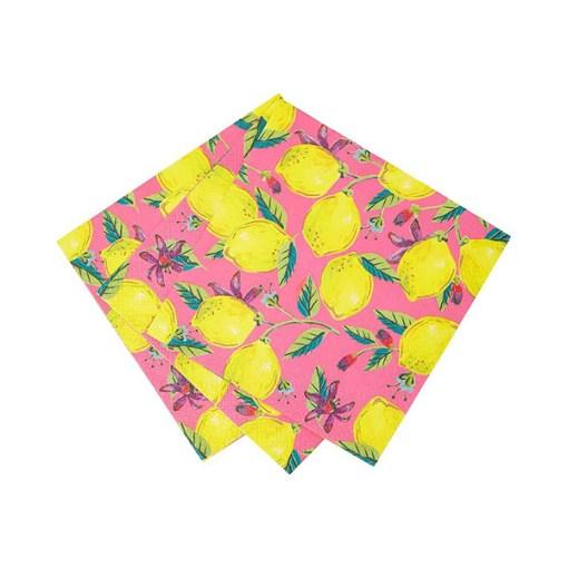 Servietten BOHO, pink, Zitronen, Blaetter und Blueten, 33 x 33 cm, 20er Pack, Detail