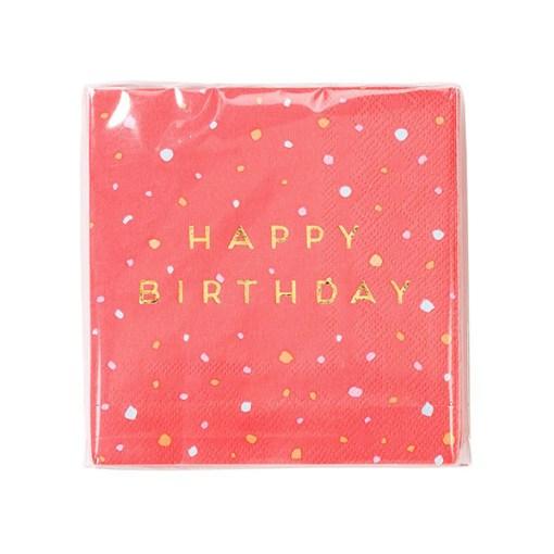 Servietten 'HAPPY BIRTHDAY', hellrot-Sprenkel, Foliendruck gold, 16er Pack, 25 x 25 cm, Verpackung