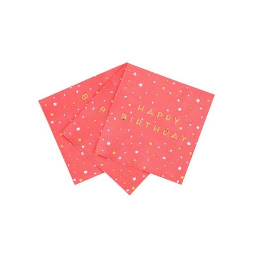 Servietten 'HAPPY BIRTHDAY', hellrot-Sprenkel, Foliendruck gold, 16er Pack, 25 x 25 cm, aufgefaechert
